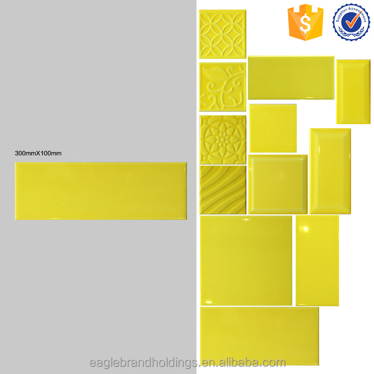 100x300 faux brick ceramic wall tile, pure yellow foshan interior kitchen bathroom tile