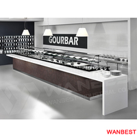 Customized Marble Top Salad Bar Restaurant Fast Food Service Counter for Sale