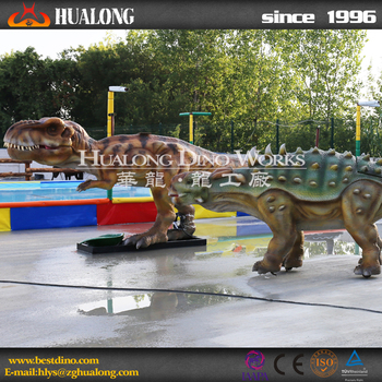 Theme park walking dinosaur ride for children