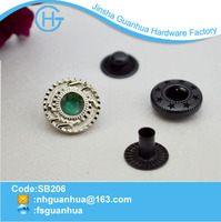 Stone decorative metal fabric covered buttons