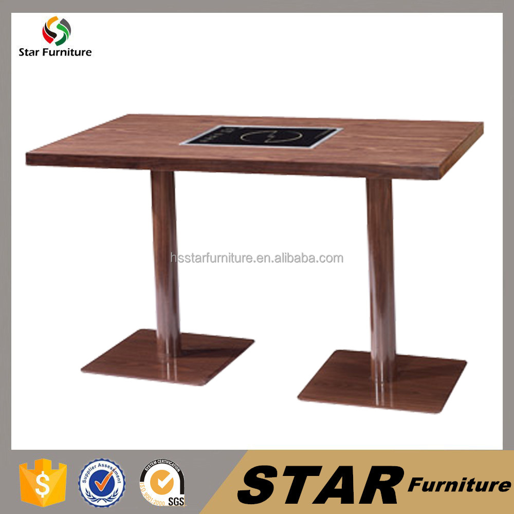popular china restaurant formica hot pot table hpl double leg table