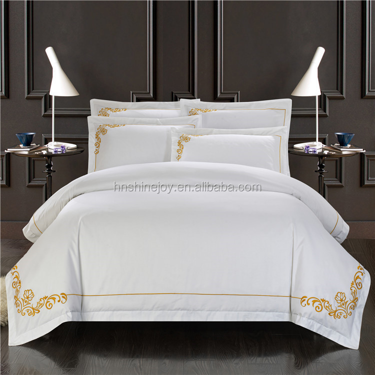 Percale 460TC 100% cotton sateen white hotel bed linen with gold embroidering