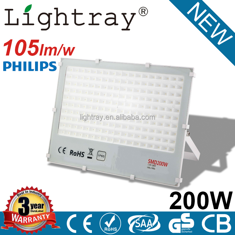 105lm/w IP66 industrial outdoor led flood light 200 watt with PHILIPS chips 3 year warranty