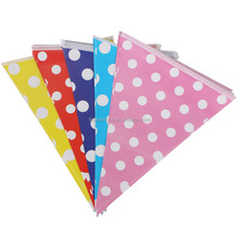 Party supply decoration with string triangle paper bunting flags