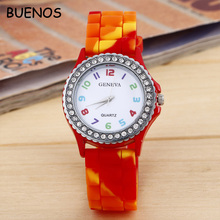 Geneva Cheap Price Fashion Silicone Camouflage Quartz Watch for Men and Women Custom Logo