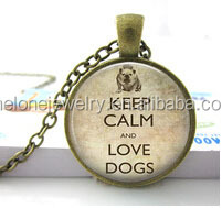 Keep calm and love dogs--Glass dome 3D frame DIY custom photo Necklace Art glass dome jewelry Nature glass dome frame