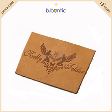 custom PU faux leather label debossed logo patch