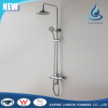 Durable wall mounted pressure balance rain shower faucet set with shower column