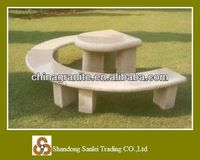 curved park bench and table