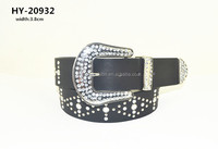 Newest style customized Ladies studded in diamond crystal pu belt