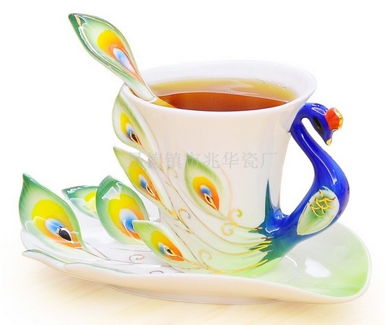 Hot selling creative Ceramic coffee cup set,Enamel porcelain tea cup /saucer and spoon