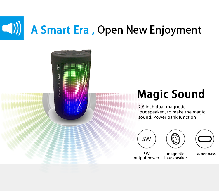 Free sample 1800 mAh 3W pulse micro mini led bluetooth speaker manual
