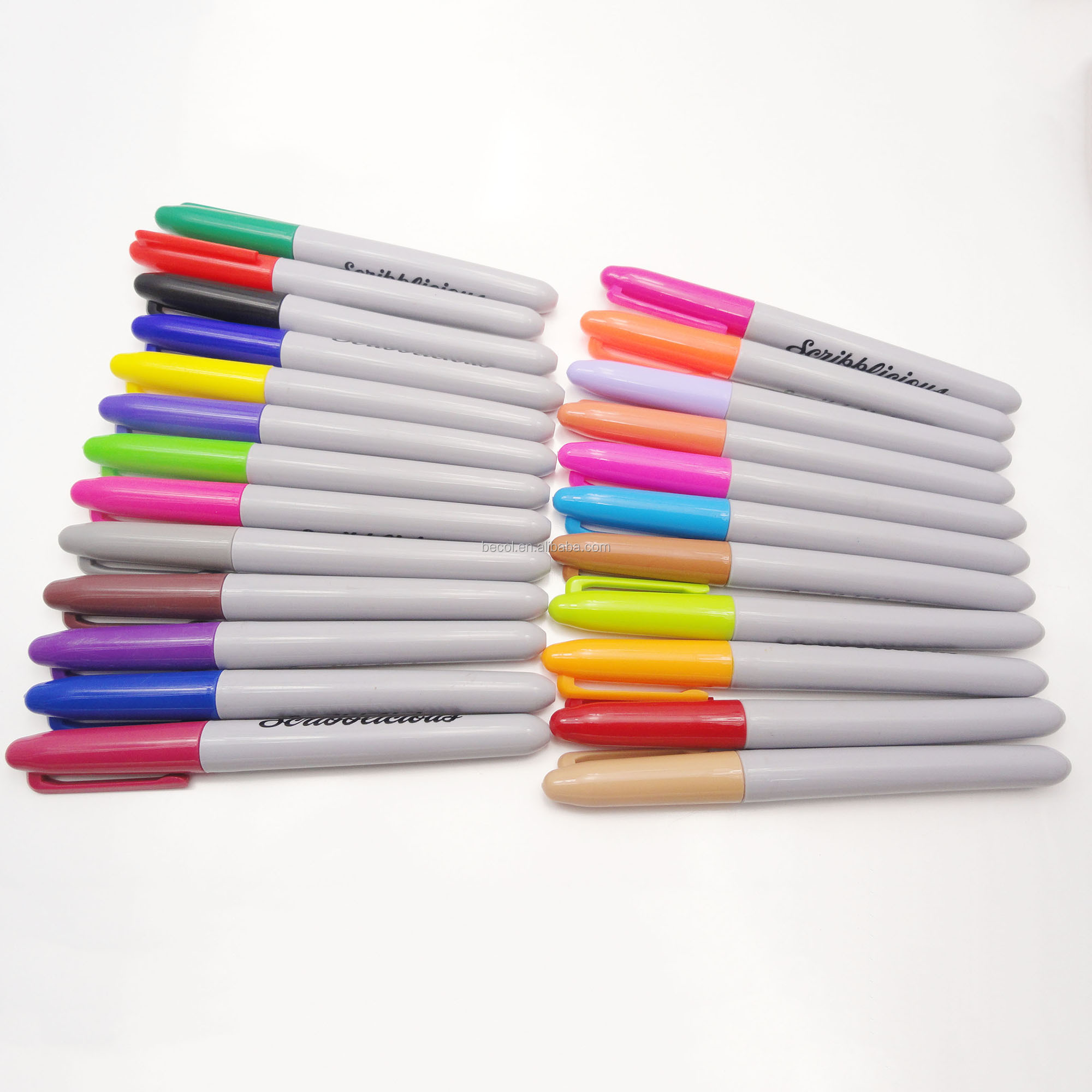 24 colors Fine tip sharpie permanent waterproof marker indelible ink marker pen