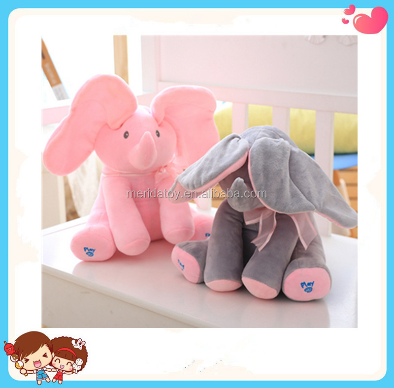 custom electric singing shy elephant plush toy shaking ear action toy