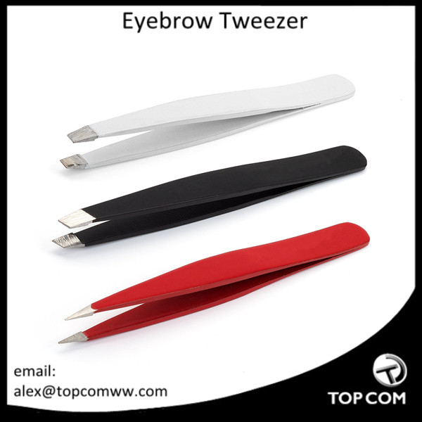 Tweezers Set Of Three - Black Slanted, White Straight and Red Pointed Tweezers with case