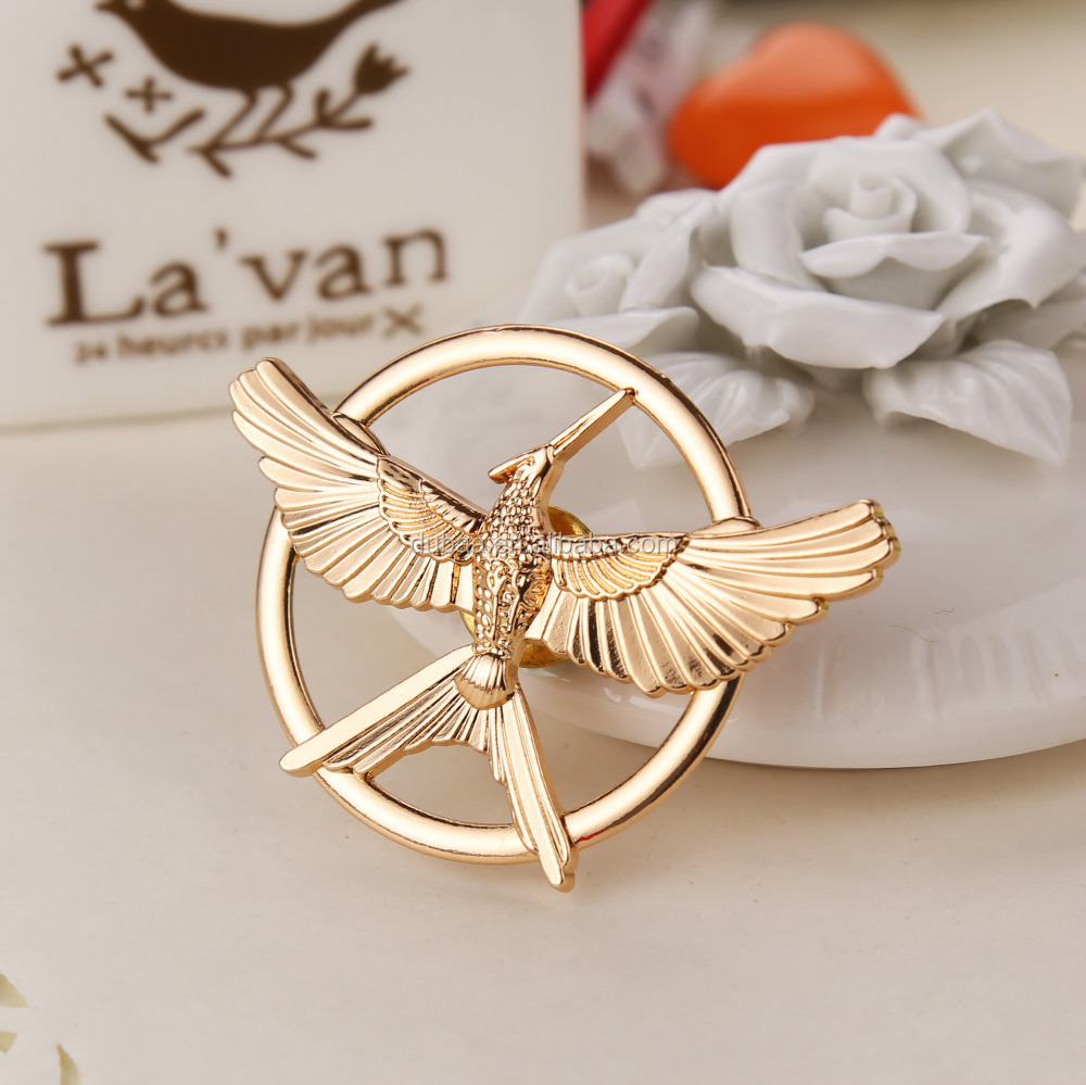 Fashion Women Game of Hunger Ridicule Birds Broochs Golden/Bronze/Silver Plated