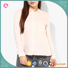 Woman Shirt Chiffon Breathable Pink Blouse Latest Shirt Designs For Women