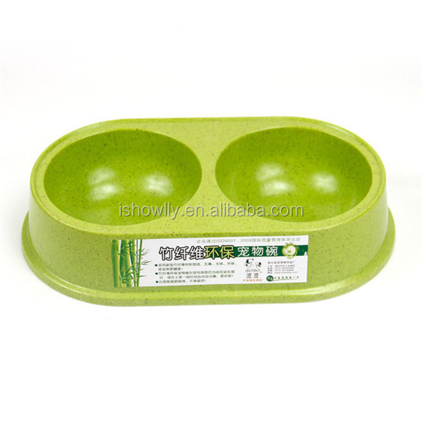 The Eco-friendly bamboo fiber pet feeder bowl/pet double feeding bowl