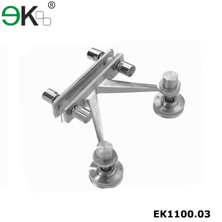 Heavy duty stainless steel v shaped two arm canopy glass spider fitting