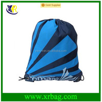 Blue Stripe Print Polyester Shopping Drawstring Backpack String Outdoor Sports Bag