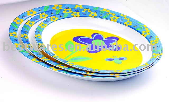 2015 New arrival eco-friendly flower melamine oval lunch tray