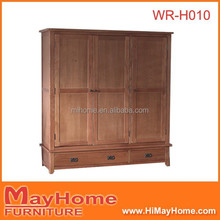 wholesale cheap oak wood 3 door bedroom wardrobe design