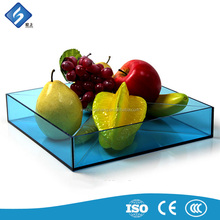 Durable 4 Grid Blue Color Acrylic Fruit / Candy Serving Tray for Sale