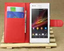 Left to right opening stand case flip cover for sony xperia m