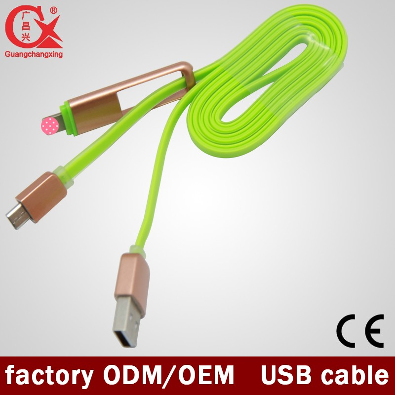 Multi functional Pink & Green beautiful 5ft silicon 2 in 1 twin usb cable for phone
