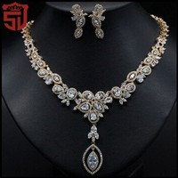 Women Engagement Jewelry Sets real gold plated with Cubic zircon stone 2pcs sets ( necklace + earring )