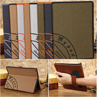 Retro canvas style folio stand leather case,for ipasd air leather case