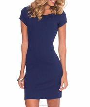 custom clothing manufacturer wholesale navy blue ribbed cotton bodycon dress knee length