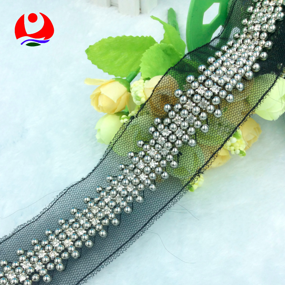 Wholesale beaded lace trimming with shiny crystal rhinestones and plastic beads sew on black mesh for lady garment decoration