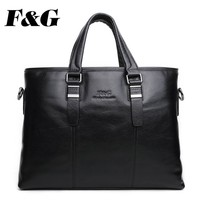 newest business black men leather bags genuine leather briefcase
