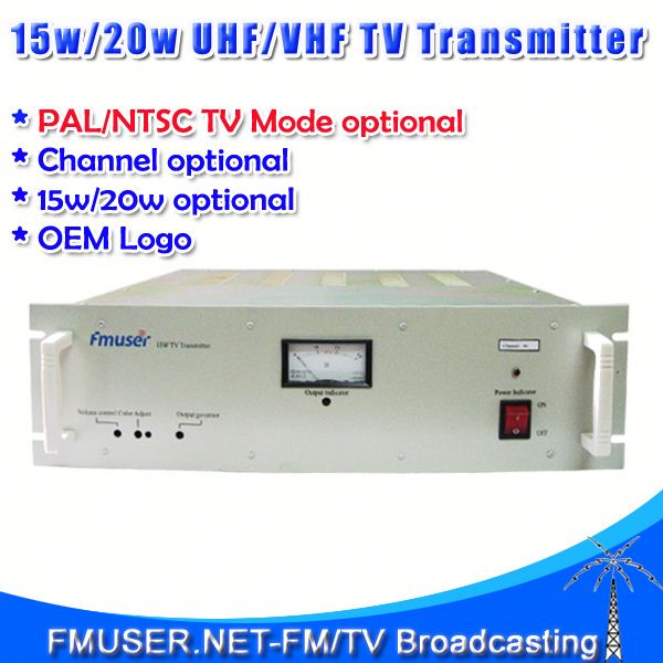 FMUSER FM-15T 15W TV wireless video converter transmitter UHF/VHF Analog PAL/NTSC TV transmitter for TV Station-RC6
