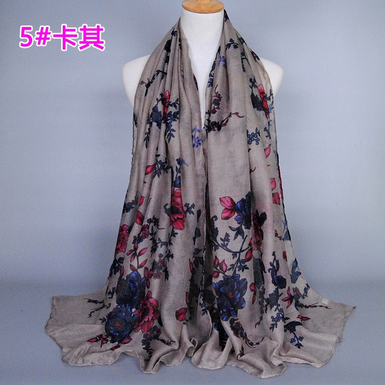 Women Printed Viscose Scarf Long Size Pattern Flower Hijab Embroidery Scarves Shawl Wraps