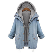 Blue Hooded Drawstring Boyfriend Trends Jean Swish Pockets Two Piece Outerwear Women Long Sleeve Buttons Coat