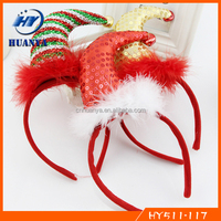 2016 Christmas Glitter pom poms feather mini santa headband for kids