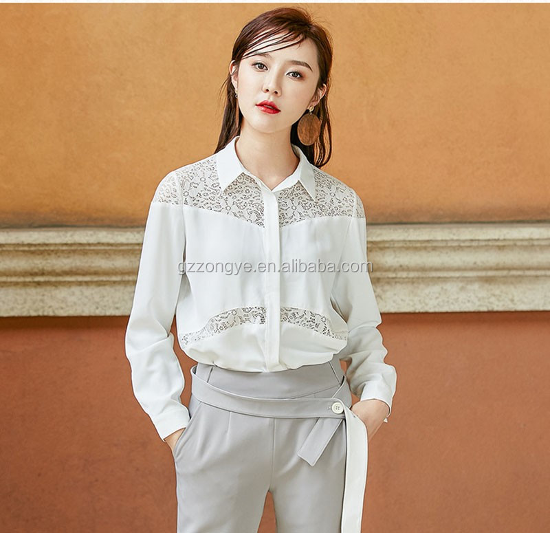 White formal shirt with lace for women