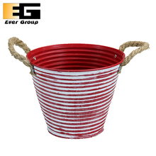 Ever group painted metal bucket with rope handles,flower pot planter