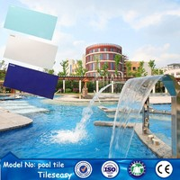 2015 discount glazed ceramic swimming pool tile light blue