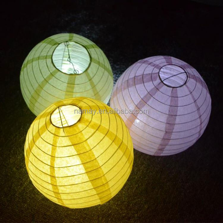 China Decorated Craft Colored Paper Lantern With Led Light