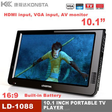 New products 10 inch Portable 1080P HD video atsc isdb-t dvb t2 digital receiver tv