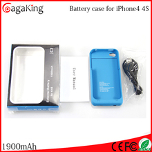 Fast track battery rechargeable For iphone4 4s 1900mah mobile power bank