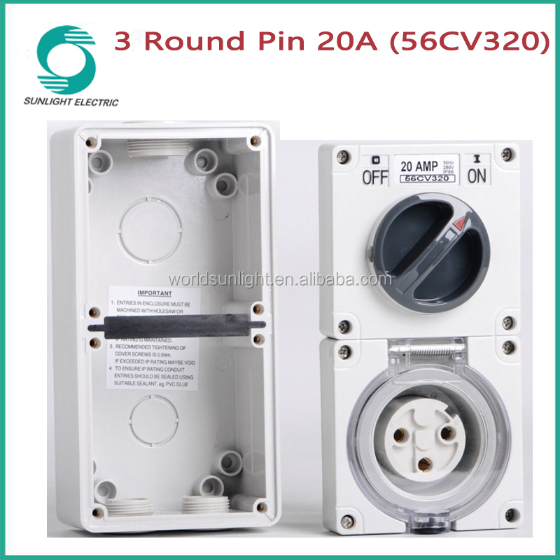 IP66 56CV series single phase 10A 15A 20A 3 pin switch socket