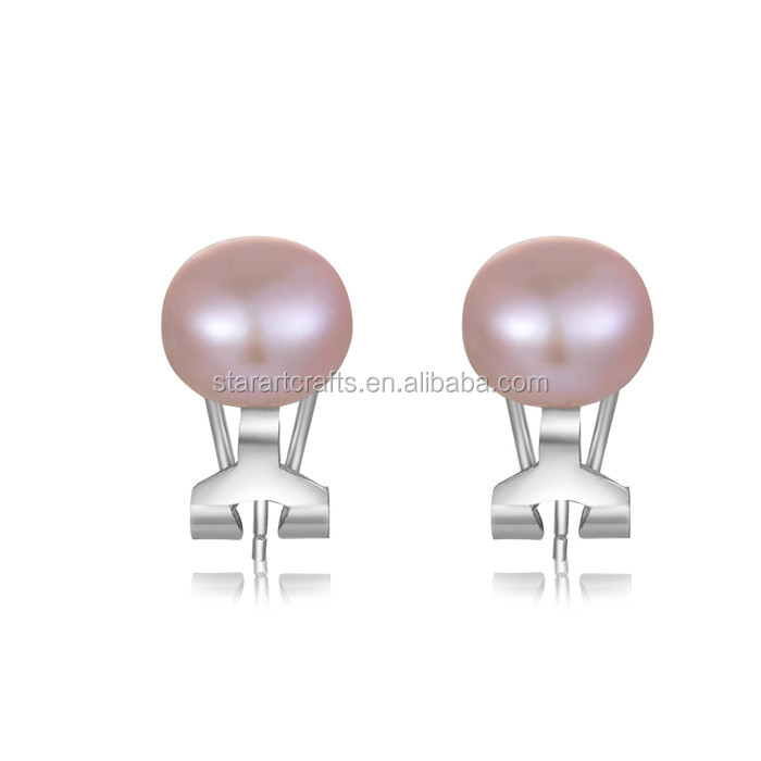 Latest Design Cute Girls Fashion Earring Of Purple Pearl Silver Earring,Ladies Stud Earrings Designs Picture