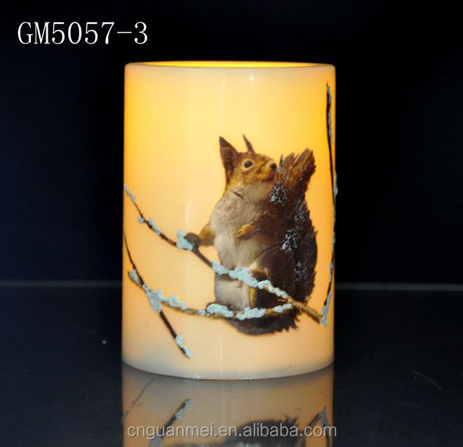 Squirrels image led candle for christmas decoration