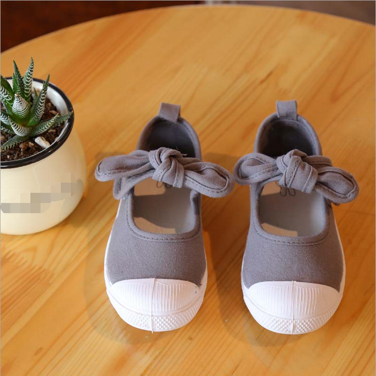 FC1015 kids shoes spring summer 2016 elastic bowknot soft flat bottom canvas casual children shoes