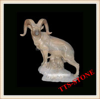 Color marble carved decoration goat statue