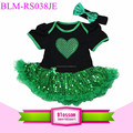 St Patricks Day Baby Romper And Satin Chiffon Ruffle Tutu Baby Girls Tutu Romper